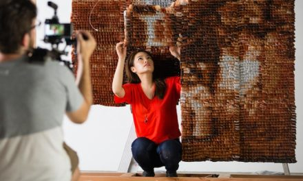 Portrait created from 20,000 teabags by artist Red Hong Yi